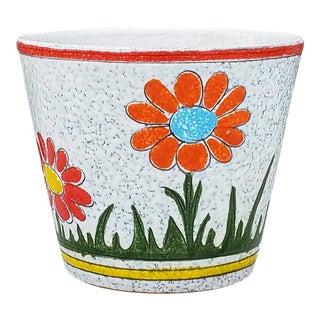 Mid Century Italian Ceramic Planter Handpainted Flower Pot For Sale