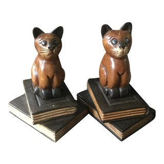 Vintage Wooden Cat Bookends- A Pair