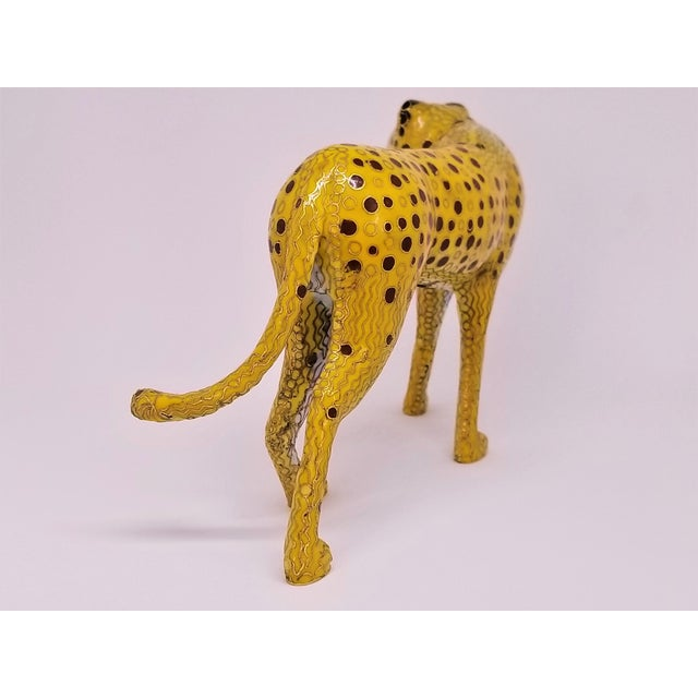 Cheetah - Vintage Cloisonne Enamel and Brass Sculpture - Mid Century Modern Palm Beach Boho Chic Animal Tropical Coastal For Sale In Miami - Image 6 of 12