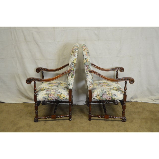 Yellow Antique French Louis XIII Style Carved Walnut Throne Chairs - A Pair  For Sale - - Antique French Louis XIII Style Carved Walnut Throne Chairs - A Pair