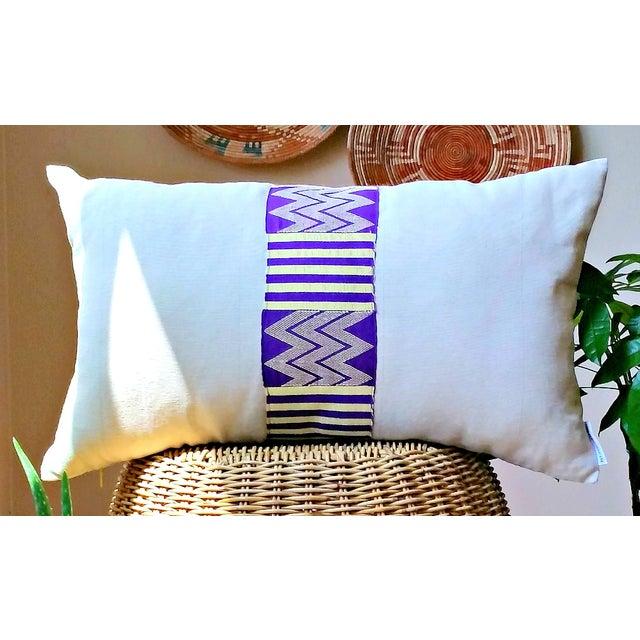 Vintage Linen African Kente Cloth Lumbar Pillow - Image 4 of 5