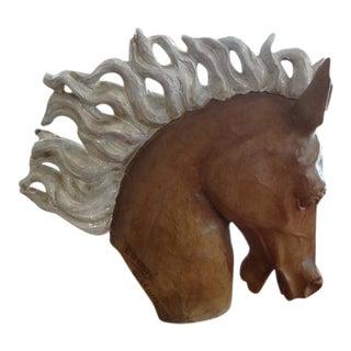 1950s Vintage Glazed Terra Cotta Horse Head Sculpture For Sale