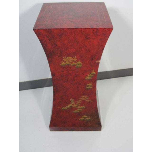Asian 1970's Vintage Red Asian Style Pedestal For Sale - Image 3 of 13