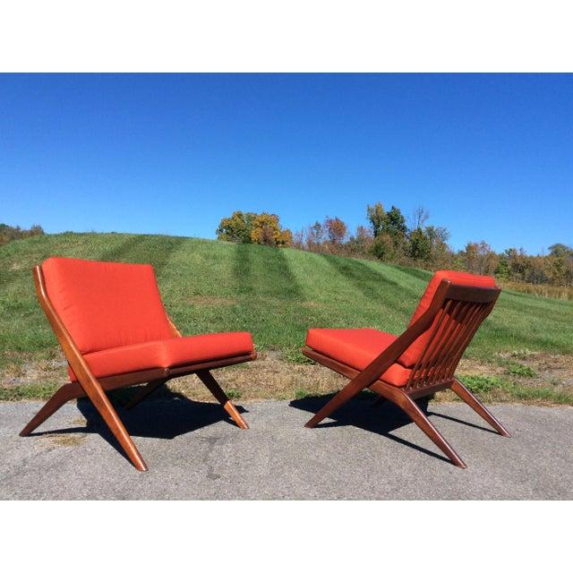 Folke Ohlsson Folke Ohlsson for Dux Teak Scissor Chairs - A Pair For Sale - Image 4 of 9