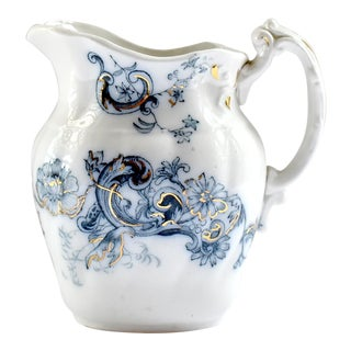 Antique 19th-Century Staffordshire Flow Blue Jug For Sale