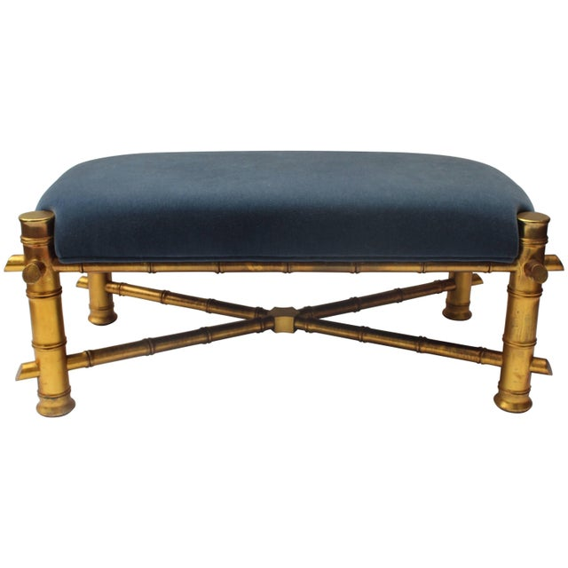 Gilt Faux Bamboo Bench For Sale - Image 11 of 11