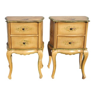 Pair of Vintage Rustic French Country Gold Nightstands With Flowers For Sale