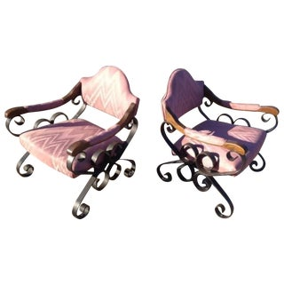 Iron Scroll Baroque Chairs - a Pair For Sale