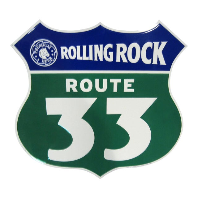 Embossed Rolling Rock Route 33 Advertising Sign For Sale