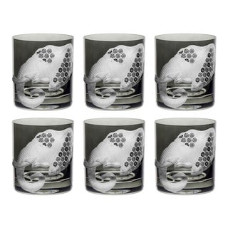 African Safari Double Old Fashioned Glasses, Elephant, Smoke, Set of 6 For Sale