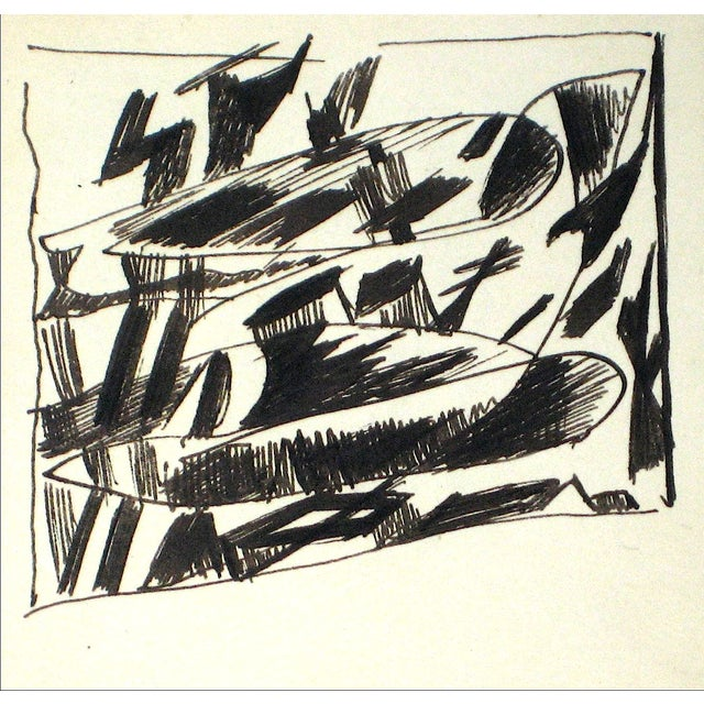 Abstract Ink Drawing by J. Tofel - Image 1 of 2