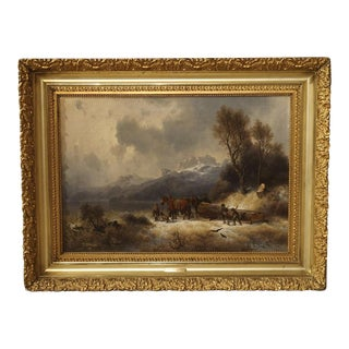 Antique Oil on Canvas, Mountain Horse Logging Scene, Germany 1867 For Sale