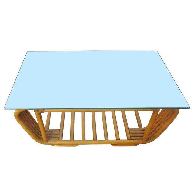 Hollywood Regency Restored Five Strand Rattan Coffee Table with Floating Glass Top For Sale - Image 3 of 5