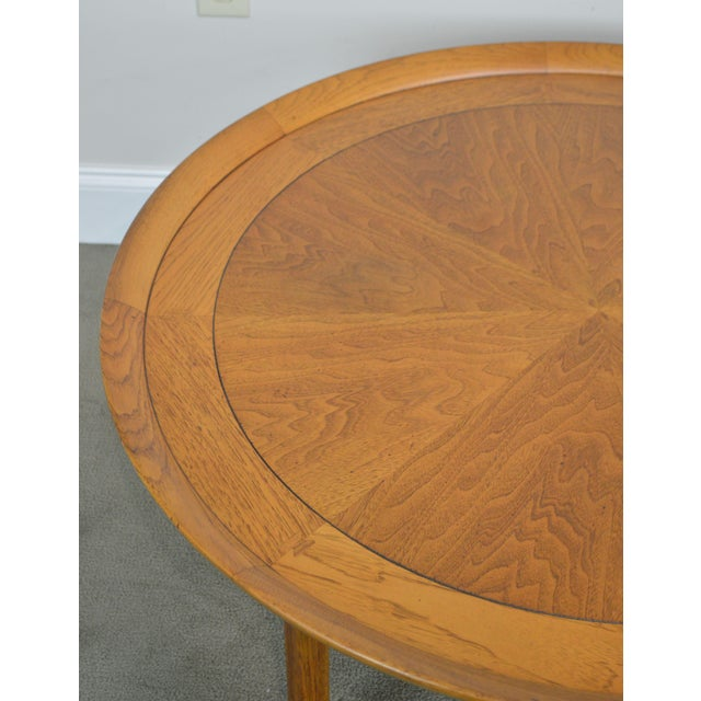 "Wood Tomlinson Sophisticate 40"" Round Mid Century Modern Walnut & Recan Coffee Table For Sale - Image 7 of 13"