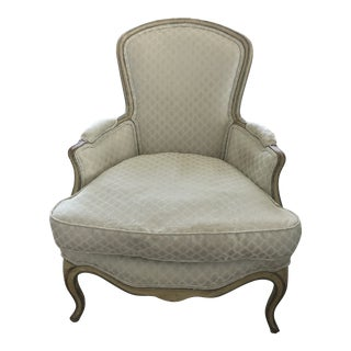 Antique French Painted Bergère Arm Chair Reupholstered in Scalamandre Indonesian Fabric For Sale