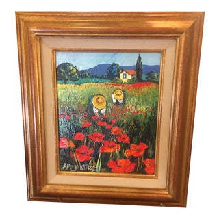 "Betty Wittwe ""Field of Poppies"" Acrylic Painting For Sale"