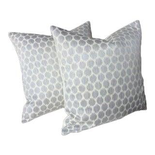 "Jane Churchill for Cowtan & Tout ""Patino"" Silver Pillows - A Pair For Sale"