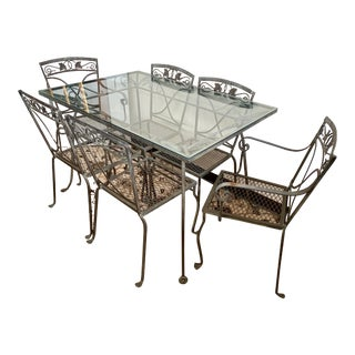 Mid Century Salterini Wrought Iron Patio Set- 7 Pieces For Sale
