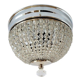 Mid Century Beaded Crystal Basket Light Fixture For Sale