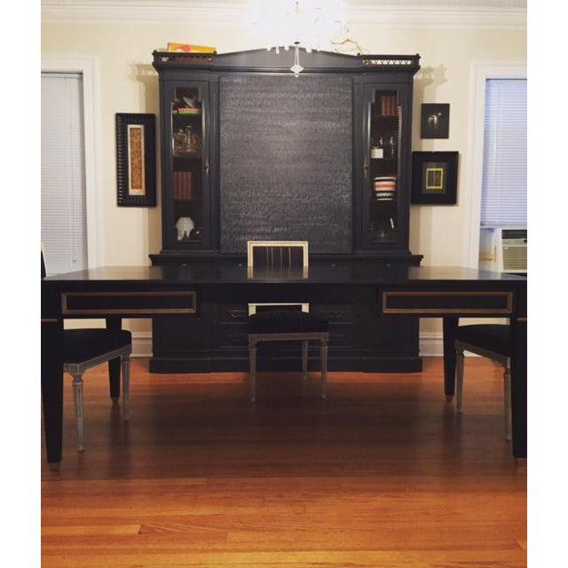 Black Black Custom Partner Desk For Sale - Image 8 of 9