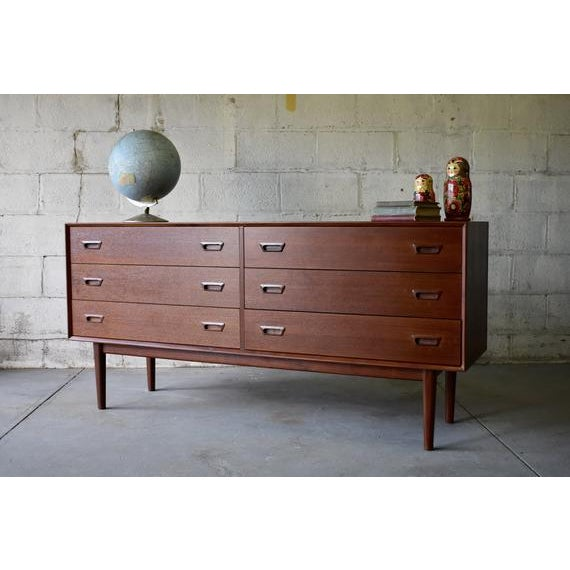 2010s Mid Century Modern Teak Double Dresser For Sale - Image 5 of 8
