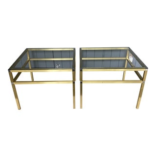 1970s Mid-Century Modern Brass & Chrome Monumental Side Tables - a Pair For Sale