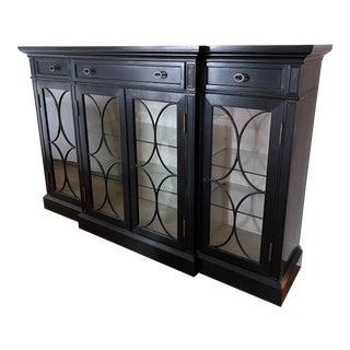 Jonathan Charles Four Door Breakfront Black Display Cabinet For Sale