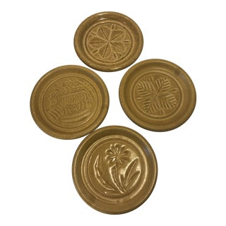 Pigeon Forge Pottery Yellow Coasters-Ashtrays Old Buttermold - Set of 4 For Sale