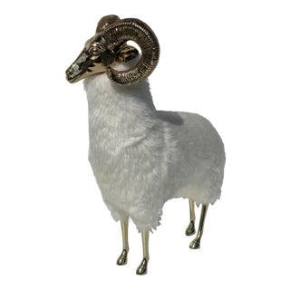 1970s Vintage Brass Ram Sculpture For Sale