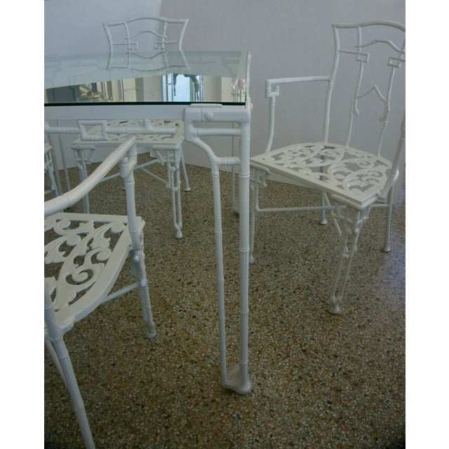 Boho Chic Faux Bamboo Cast Aluminum White Table and Chairs Five-Piece Patio Set For Sale - Image 3 of 10