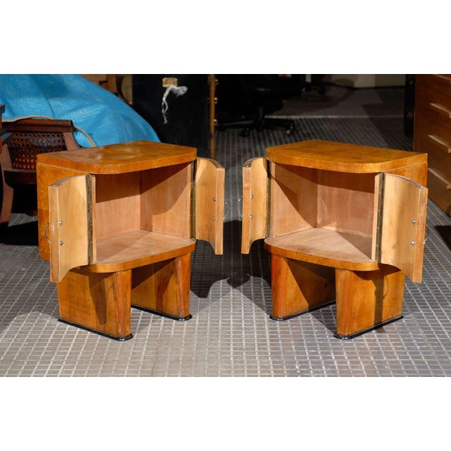 Wood Exquisite Restored Pair Of Art Deco Small Cabinets In Walnut For Sale - Image 7 of 10