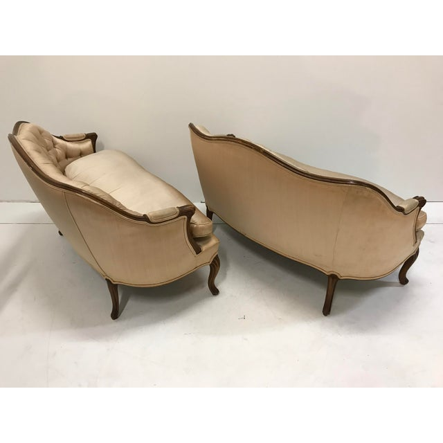 1960s Country French Loveseats Settee Cabriole Leg Louis XV Style Button Tufted Carved Frame - a Pair For Sale - Image 6 of 12