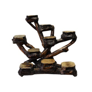 Chinese Rustic Natural Wood Stem Table Top Display Stand