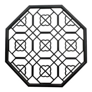 Chinese Black Lacquer Octagon Flower Geometric Pattern Wall Panel