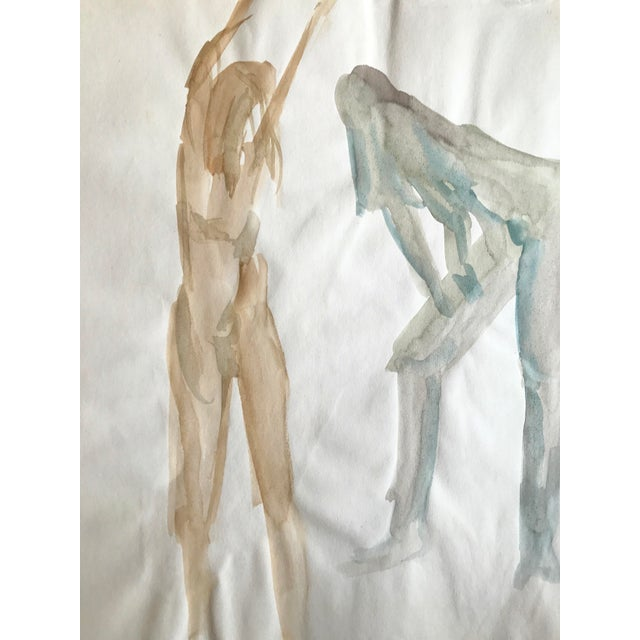 """1970s Original Watercolor Painting """"3 Nudes Stretching 2"""" Bay Area Artist For Sale - Image 4 of 5"""