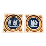 Image of Early 20th Century Jasperware Wall Hanging Decorative Plates - a Pair For Sale