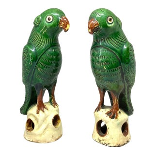 19th Century Chinese Glazed Pottery Parrots - a Pair For Sale
