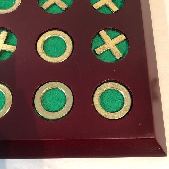 Vintage Cherry Wood & Brass Tic Tac Toe Set - Image 2 of 11