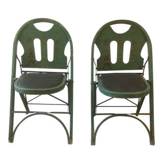 1920s Vintage Louis Rastetter & Sons Green Wood Folding Chairs - a Pair For Sale