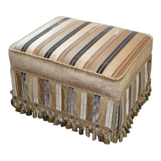Finely Upholstered Custom Rectangular Ottoman or Vanity Stool For Sale