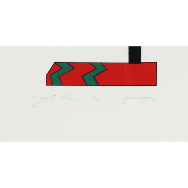 """Gwen Stone Gwen Stone """"Signal Three"""", 1978 Checkered Abstract Serigraph in Red, Green, Black and White 1978 For Sale - Image 4 of 5"""