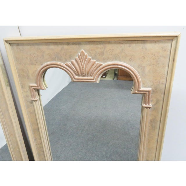 Traditional Thomasville Italian Style Burlwood Mirrors - a Pair For Sale - Image 3 of 5