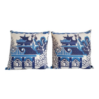 Lee Jofa Chinoiserie Blue Willow Throw Pillows-A Pair For Sale