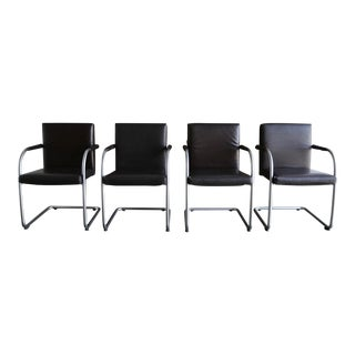 Late 20th Century Vintage Antonio Citterio & Glen Oliver Low for Vitra Leather Armchairs- Set of 4 For Sale