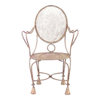 French Rope & Tassel Gilt Arm Chair For Sale