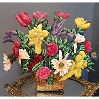 Vintage Hand Painted Flower Metal Doorstop For Sale