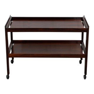 Danish Rosewood Two-Tier Rolling Bar/Serving Cart