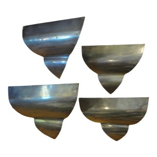 1930s French Art Deco Triangular Form Steel Sconces-Set of 4 For Sale