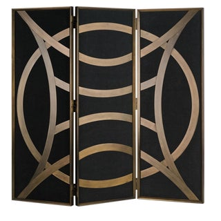 Currey & Co. Clara Black and Gold Folding Screen For Sale