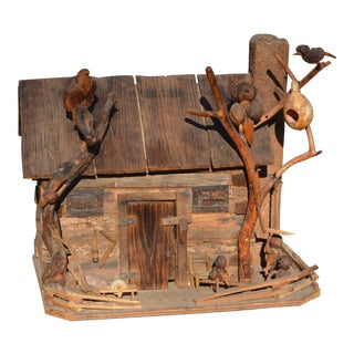 Historical Reverend Russell Gillespie NC Folk Art Hand Crafted Log Cabin House W/ Figures For Sale